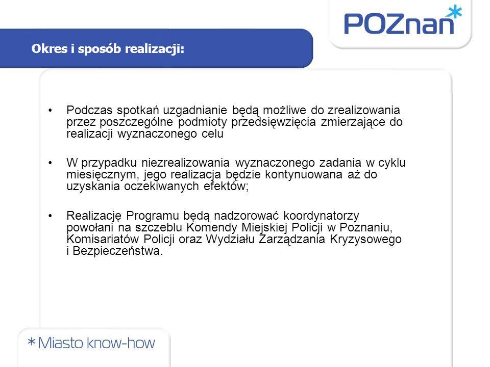 Podczas spotkań uzgadnianie będą możliwe do zrealizowania przez poszczególne podmioty przedsięwzięcia zmierzające do realizacji wyznaczonego celu W przypadku niezrealizowania wyznaczonego zadania w cyklu miesięcznym, jego realizacja będzie kontynuowana aż do uzyskania oczekiwanych efektów; Realizację Programu będą nadzorować koordynatorzy powołani na szczeblu Komendy Miejskiej Policji w Poznaniu, Komisariatów Policji oraz Wydziału Zarządzania Kryzysowego i Bezpieczeństwa.