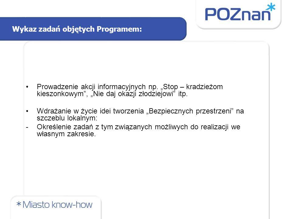 Wykaz zadań objętych Programem: Prowadzenie akcji informacyjnych np.