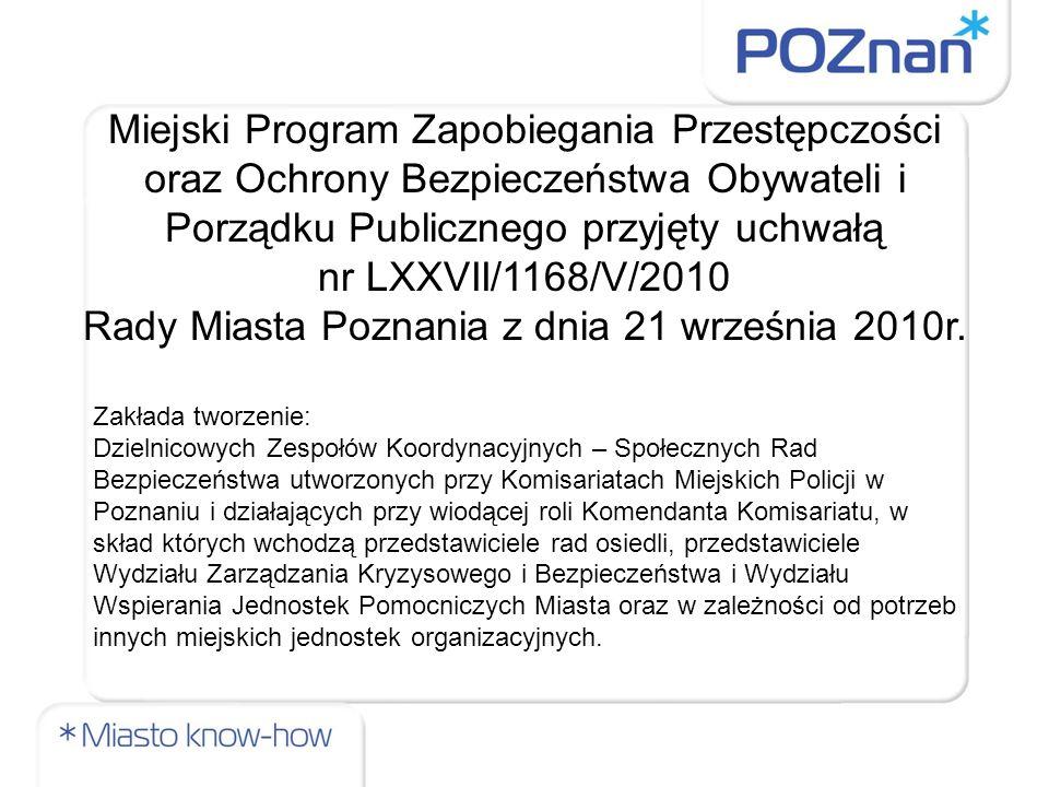 Miejski Program Zapobiegania Przestępczości oraz Ochrony Bezpieczeństwa Obywateli i Porządku Publicznego przyjęty uchwałą nr LXXVII/1168/V/2010 Rady Miasta Poznania z dnia 21 września 2010r.