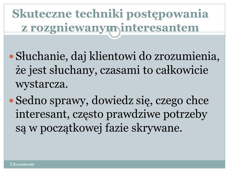 Skuteczne techniki postępowania z rozgniewanym interesantem Z.Korzeniewski Słuchanie, daj klientowi do zrozumienia, że jest słuchany, czasami to całko