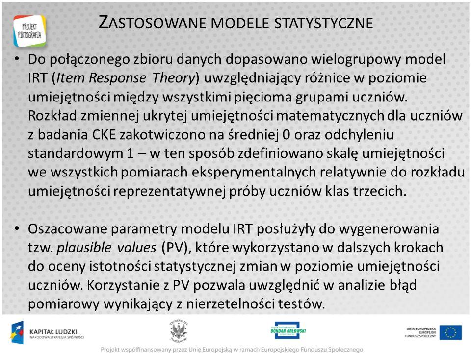 Z ASTOSOWANE MODELE STATYSTYCZNE Do połączonego zbioru danych dopasowano wielogrupowy model IRT (Item Response Theory) uwzględniający różnice w poziomie umiejętności między wszystkimi pięcioma grupami uczniów.