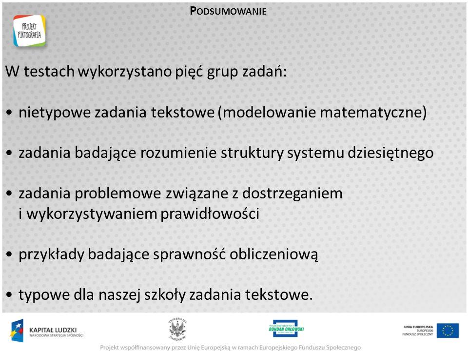 W testach wykorzystano pięć grup zadań: nietypowe zadania tekstowe (modelowanie matematyczne) zadania badające rozumienie struktury systemu dziesiętnego zadania problemowe związane z dostrzeganiem i wykorzystywaniem prawidłowości przykłady badające sprawność obliczeniową typowe dla naszej szkoły zadania tekstowe.