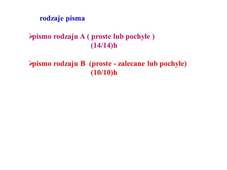 rodzaje pisma  pismo rodzaju A ( proste lub pochyłe ) (14/14)h  pismo rodzaju B (proste - zalecane lub pochyłe) (10/10)h