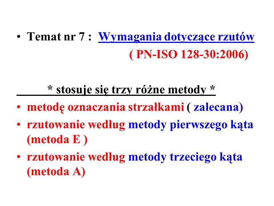 Temat nr 7 : Wymagania dotyczące rzutów ( PN-ISO 128-30:2006) * stosuje się trzy różne metody * metodę oznaczania strzałkami ( zalecana) rzutowanie według metody pierwszego kąta (metoda E ) rzutowanie według metody trzeciego kąta (metoda A)