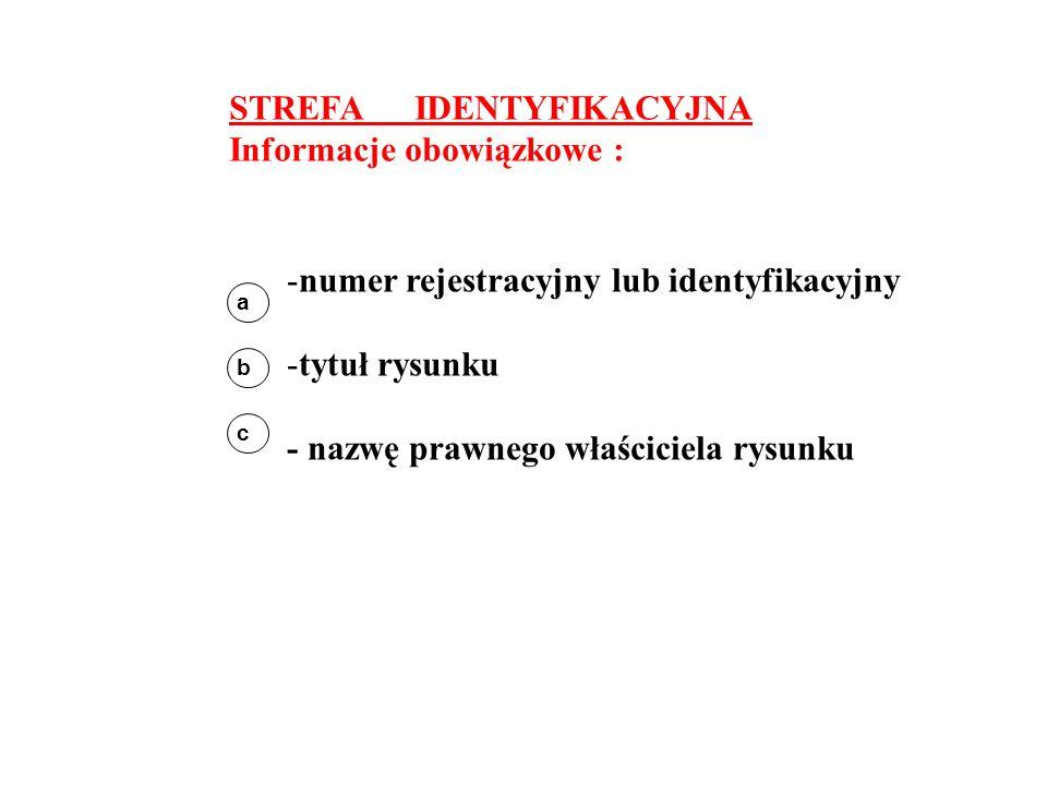 STREFA IDENTYFIKACYJNA Informacje obowiązkowe : a b c -numer rejestracyjny lub identyfikacyjny -tytuł rysunku - nazwę prawnego właściciela rysunku