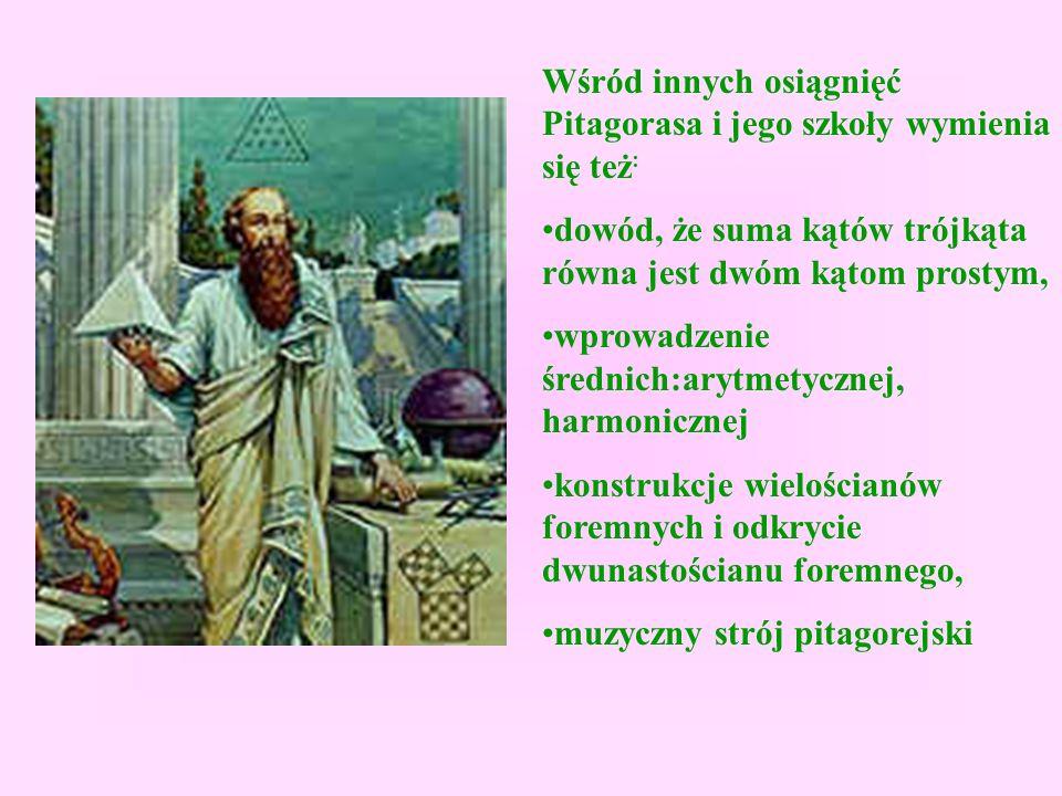 Wśród innych osiągnięć Pitagorasa i jego szkoły wymienia się też : dowód, że suma kątów trójkąta równa jest dwóm kątom prostym, wprowadzenie średnich:arytmetycznej, harmonicznej konstrukcje wielościanów foremnych i odkrycie dwunastościanu foremnego, muzyczny strój pitagorejski