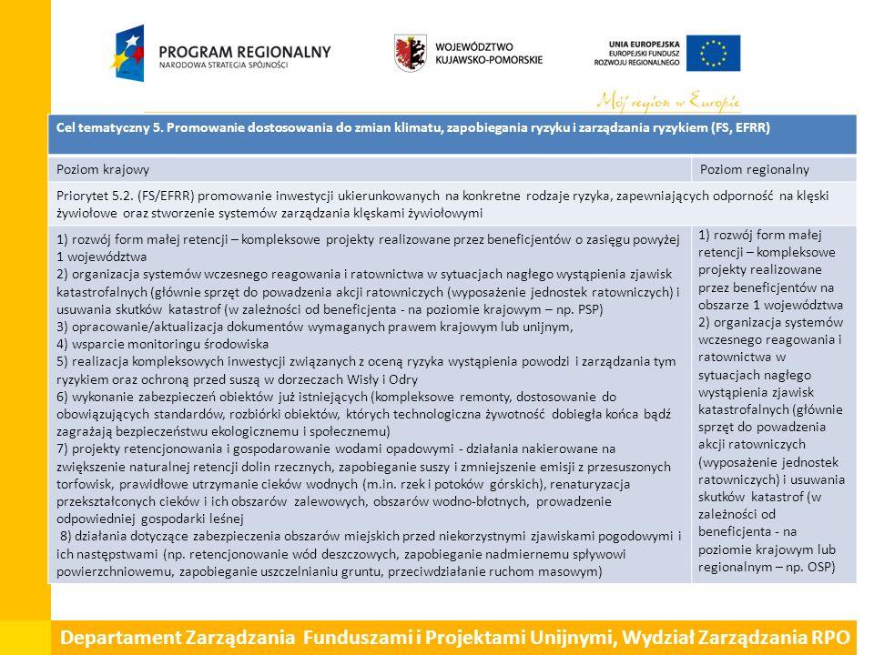 Departament Zarządzania Funduszami i Projektami Unijnymi, Wydział Zarządzania RPO Cel tematyczny 5. Promowanie dostosowania do zmian klimatu, zapobieg