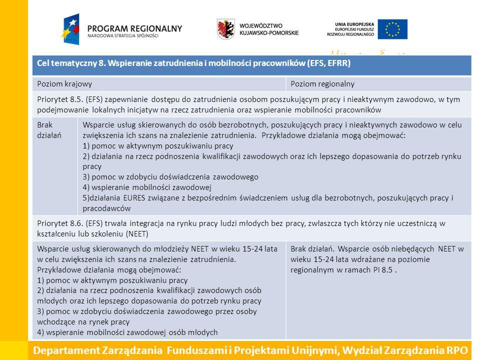 Departament Zarządzania Funduszami i Projektami Unijnymi, Wydział Zarządzania RPO Cel tematyczny 8. Wspieranie zatrudnienia i mobilności pracowników (