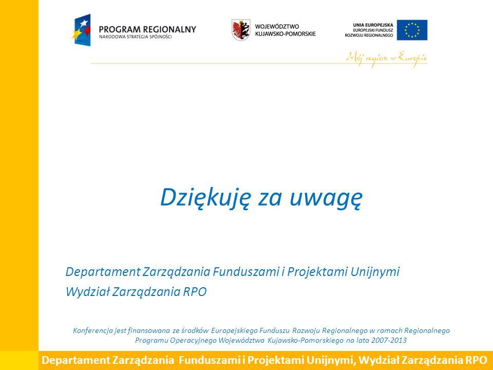 Dziękuję za uwagę Departament Zarządzania Funduszami i Projektami Unijnymi Wydział Zarządzania RPO Konferencja jest finansowana ze środków Europejskie