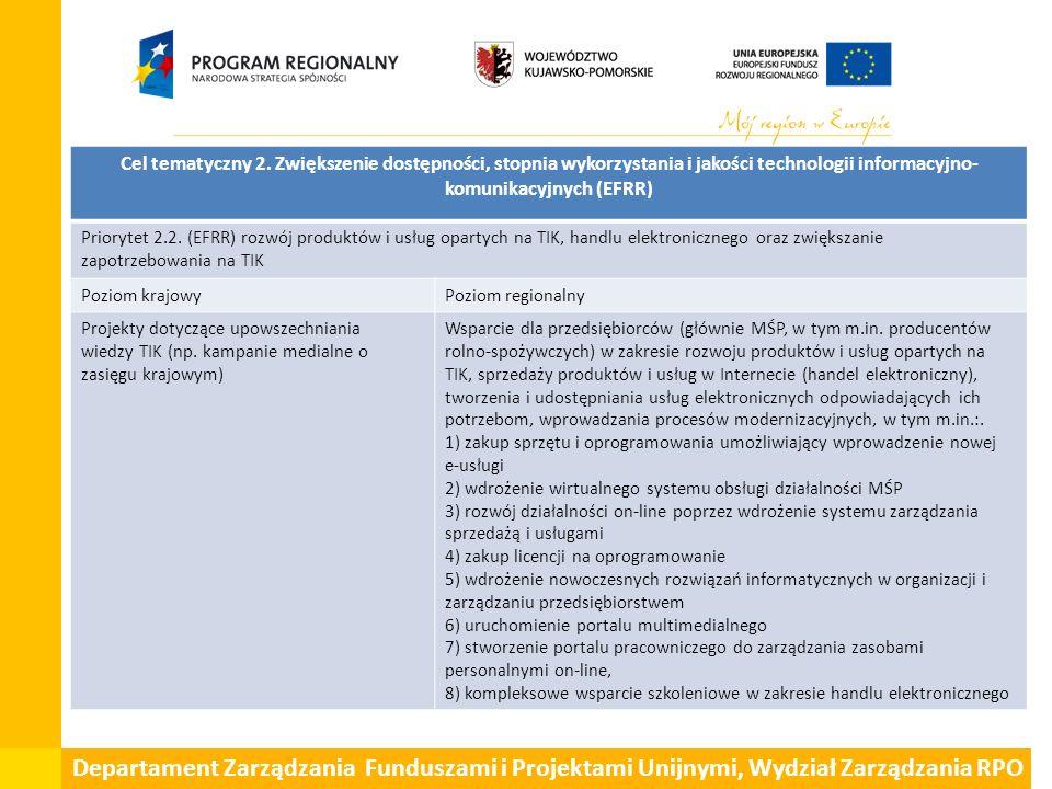 Departament Zarządzania Funduszami i Projektami Unijnymi, Wydział Zarządzania RPO Cel tematyczny 2. Zwiększenie dostępności, stopnia wykorzystania i j