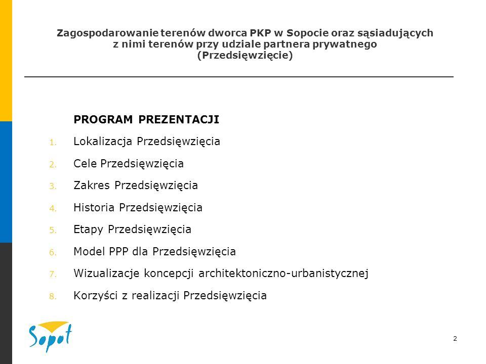2 Zagospodarowanie terenów dworca PKP w Sopocie oraz sąsiadujących z nimi terenów przy udziale partnera prywatnego (Przedsięwzięcie) PROGRAM PREZENTACJI 1.