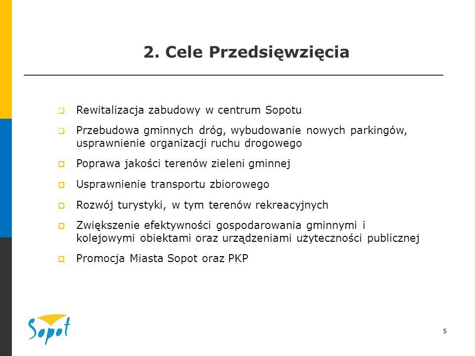 5 2. Cele Przedsięwzięcia  Rewitalizacja zabudowy w centrum Sopotu  Przebudowa gminnych dróg, wybudowanie nowych parkingów, usprawnienie organizacji
