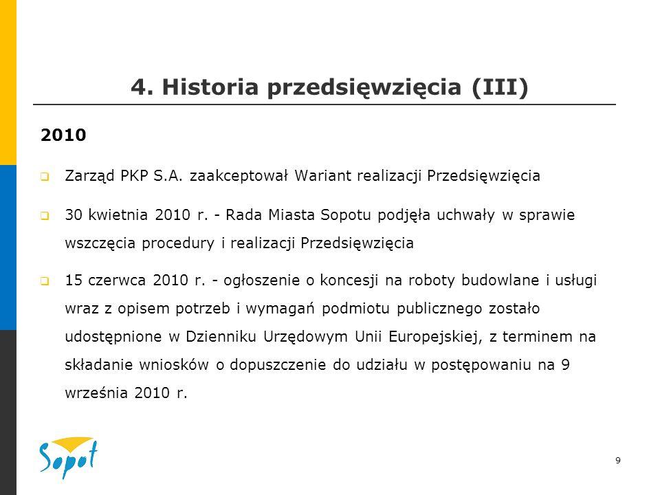 9 4. Historia przedsięwzięcia (III) 2010  Zarząd PKP S.A.