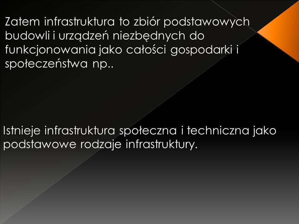 Zatem infrastruktura to zbiór podstawowych budowli i urządzeń niezbędnych do funkcjonowania jako całości gospodarki i społeczeństwa np..