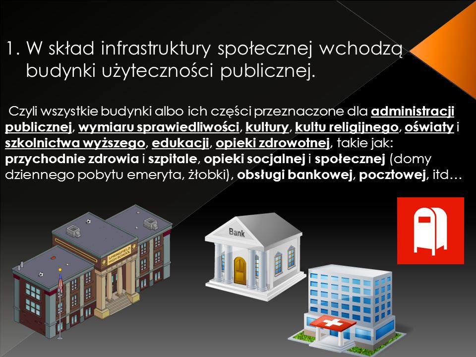 1.W skład infrastruktury społecznej wchodzą budynki użyteczności publicznej.