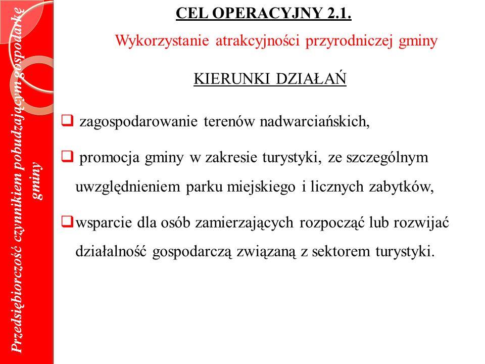 Przedsiębiorczość czynnikiem pobudzającym gospodarkę gminy CEL OPERACYJNY 2.1.