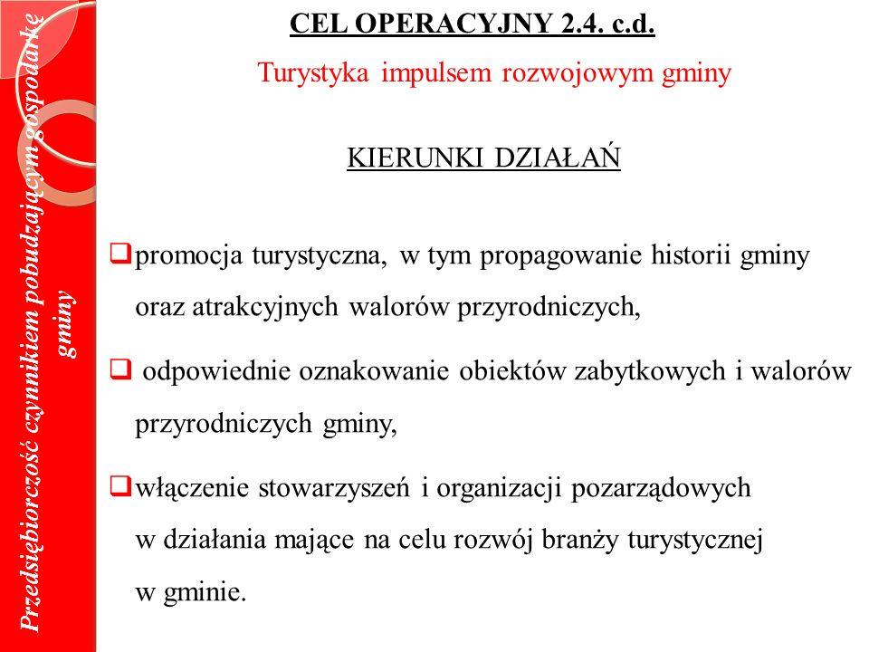 Przedsiębiorczość czynnikiem pobudzającym gospodarkę gminy CEL OPERACYJNY 2.4.