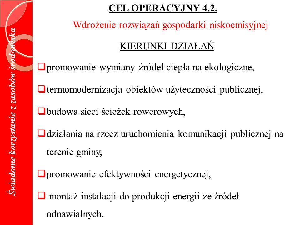 Świadome korzystanie z zasobów środowiska CEL OPERACYJNY 4.2.