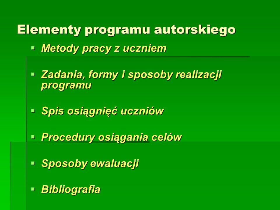 Elementy programu autorskiego  Metody pracy z uczniem  Zadania, formy i sposoby realizacji programu  Spis osiągnięć uczniów  Procedury osiągania celów  Sposoby ewaluacji  Bibliografia