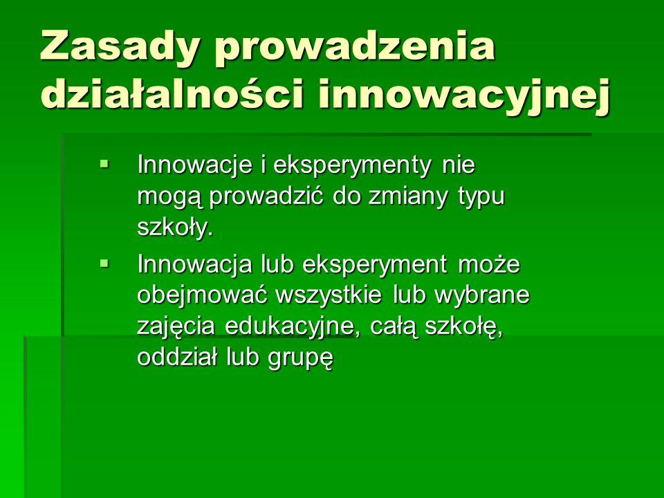 Zasady prowadzenia działalności innowacyjnej  Innowacje i eksperymenty nie mogą prowadzić do zmiany typu szkoły.