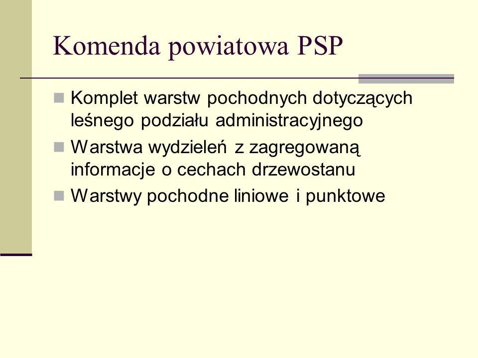 Komenda powiatowa PSP Komplet warstw pochodnych dotyczących leśnego podziału administracyjnego Warstwa wydzieleń z zagregowaną informacje o cechach dr