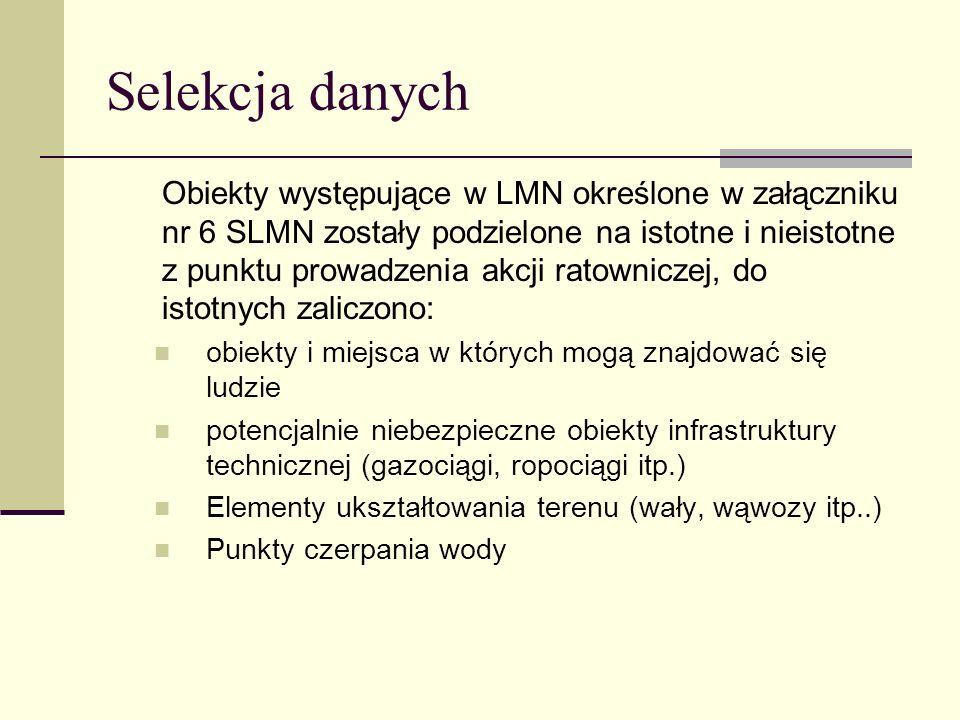 Selekcja danych Obiekty występujące w LMN określone w załączniku nr 6 SLMN zostały podzielone na istotne i nieistotne z punktu prowadzenia akcji ratow