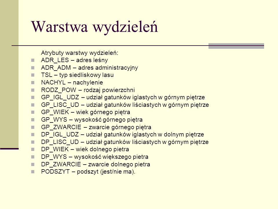 Warstwa wydzieleń Atrybuty warstwy wydzieleń: ADR_LES – adres leśny ADR_ADM – adres administracyjny TSL – typ siedliskowy lasu NACHYL – nachylenie ROD