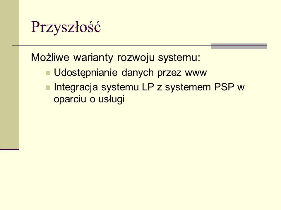 Przyszłość Możliwe warianty rozwoju systemu: Udostępnianie danych przez www Integracja systemu LP z systemem PSP w oparciu o usługi