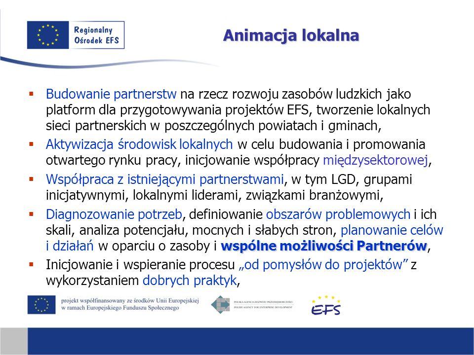 """Animacja lokalna  Budowanie partnerstw na rzecz rozwoju zasobów ludzkich jako platform dla przygotowywania projektów EFS, tworzenie lokalnych sieci partnerskich w poszczególnych powiatach i gminach,  Aktywizacja środowisk lokalnych w celu budowania i promowania otwartego rynku pracy, inicjowanie współpracy międzysektorowej,  Współpraca z istniejącymi partnerstwami, w tym LGD, grupami inicjatywnymi, lokalnymi liderami, związkami branżowymi, wspólne możliwości Partnerów  Diagnozowanie potrzeb, definiowanie obszarów problemowych i ich skali, analiza potencjału, mocnych i słabych stron, planowanie celów i działań w oparciu o zasoby i wspólne możliwości Partnerów,  Inicjowanie i wspieranie procesu """"od pomysłów do projektów z wykorzystaniem dobrych praktyk,"""