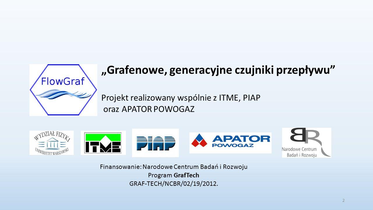 """2 """"Grafenowe, generacyjne czujniki przepływu Projekt realizowany wspólnie z ITME, PIAP oraz APATOR POWOGAZ Finansowanie: Narodowe Centrum Badań i Rozwoju Program GrafTech GRAF-TECH/NCBR/02/19/2012."""