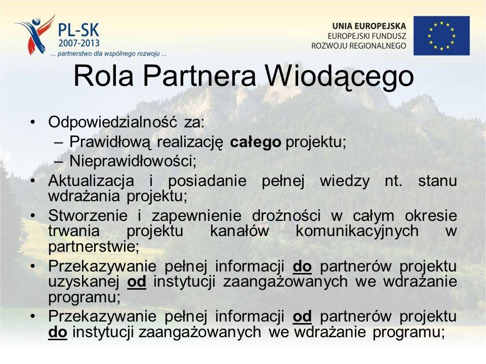 Współpraca z WST Ogólne zasady: –WST kontaktuje się głównie z PW; –partnerzy projektu komunikują się zawsze przez PW; –reprezentacja PW przez osobę upoważnioną (wniosek aplikacyjny); –Oczekujemy, że PW posiada pełną informację nt stanu wdrażania całego projektu; –PW odpowiada za zapewnienie terminowości oraz wysokiej jakości przesyłanych do WST (i nie tylko) dokumentów; –Efektywność i partnerstwo w współpracy na linii PW WST; –Ewentualne problemy zgłaszane przy uwzględnieniu czasu potrzebnego na podjęcie odpowiedniej reakcji;