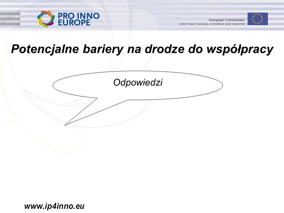 www.ip4inno.eu Potencjalne bariery na drodze do współpracy Odpowiedzi