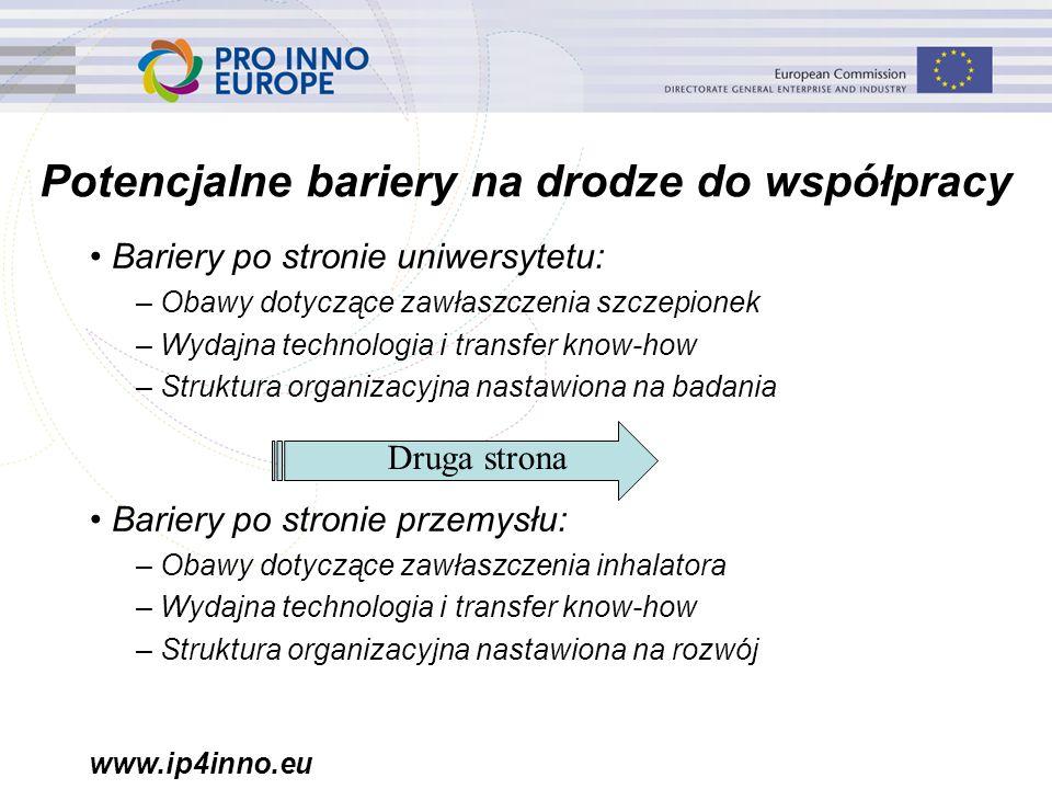 www.ip4inno.eu Potencjalne bariery na drodze do współpracy Bariery po stronie uniwersytetu: – Obawy dotyczące zawłaszczenia szczepionek – Wydajna tech