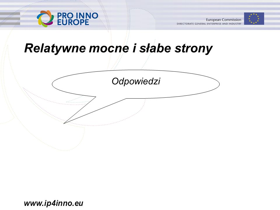 www.ip4inno.eu Relatywne mocne i słabe strony Odpowiedzi