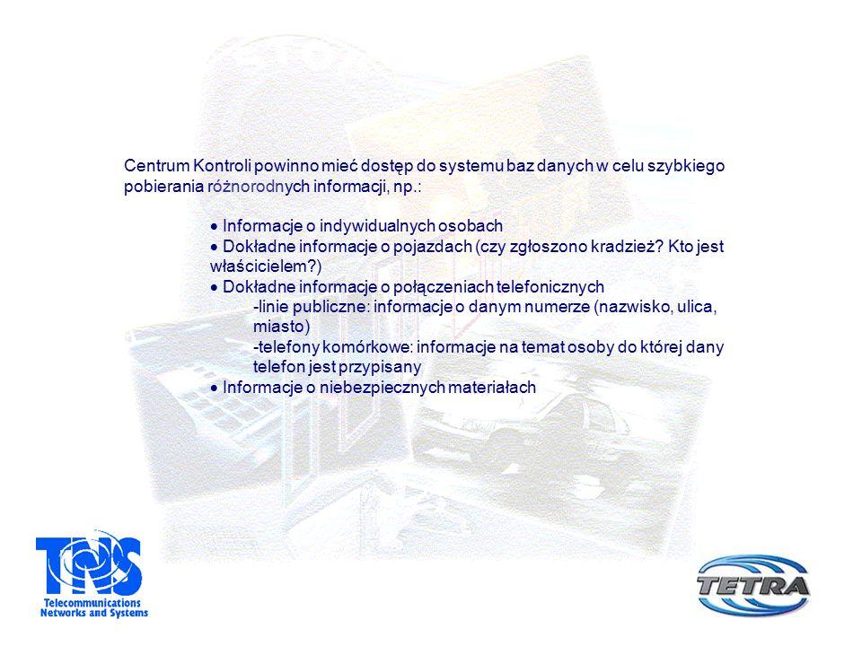 Centrum Kontroli powinno mieć dostęp do systemu baz danych w celu szybkiego pobierania różnorodnych informacji, np.:  Informacje o indywidualnych osobach  Dokładne informacje o pojazdach (czy zgłoszono kradzież.