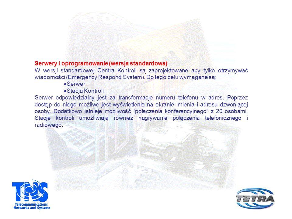 Serwery i oprogramowanie (wersja standardowa) W wersji standardowej Centra Kontroli są zaprojektowane aby tylko otrzymywać wiadomości (Emergency Respond System).