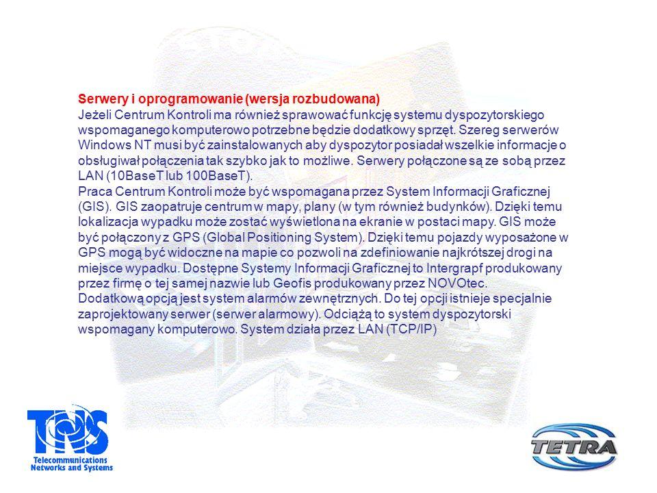 Serwery i oprogramowanie (wersja rozbudowana) Jeżeli Centrum Kontroli ma również sprawować funkcję systemu dyspozytorskiego wspomaganego komputerowo p