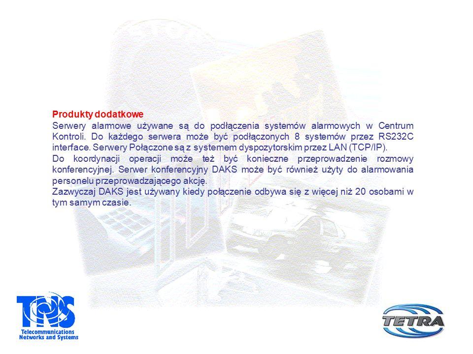 Produkty dodatkowe Serwery alarmowe używane są do podłączenia systemów alarmowych w Centrum Kontroli. Do każdego serwera może być podłączonych 8 syste
