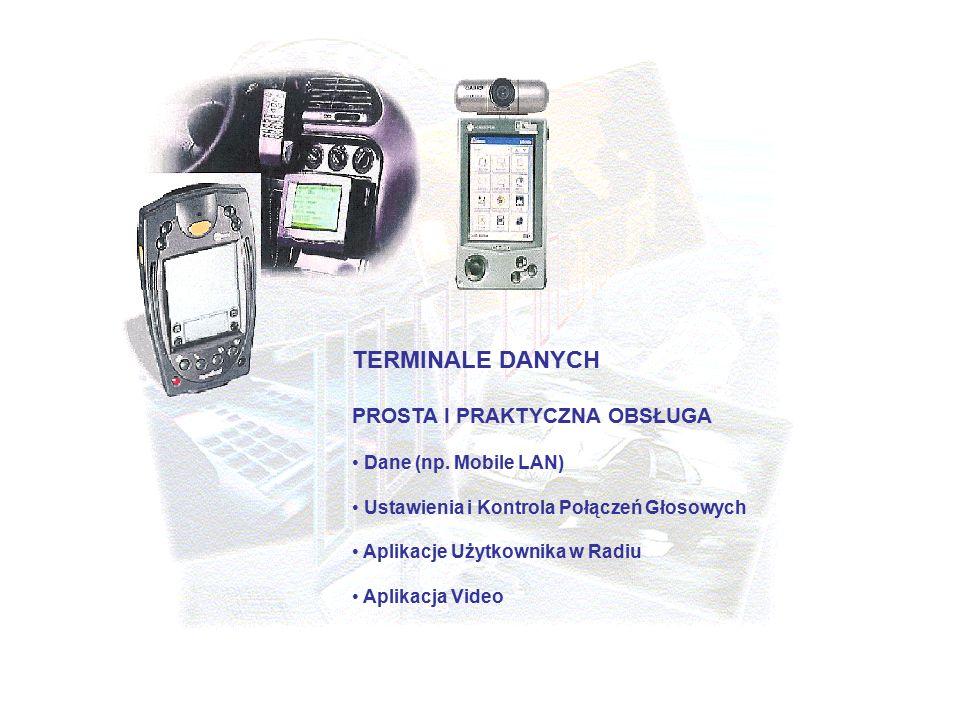 TERMINALE DANYCH PROSTA I PRAKTYCZNA OBSŁUGA Dane (np. Mobile LAN) Ustawienia i Kontrola Połączeń Głosowych Aplikacje Użytkownika w Radiu Aplikacja Vi