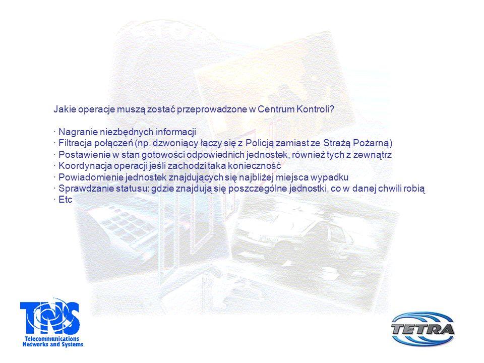 Jakie operacje muszą zostać przeprowadzone w Centrum Kontroli? · Nagranie niezbędnych informacji · Filtracja połączeń (np. dzwoniący łączy się z Polic