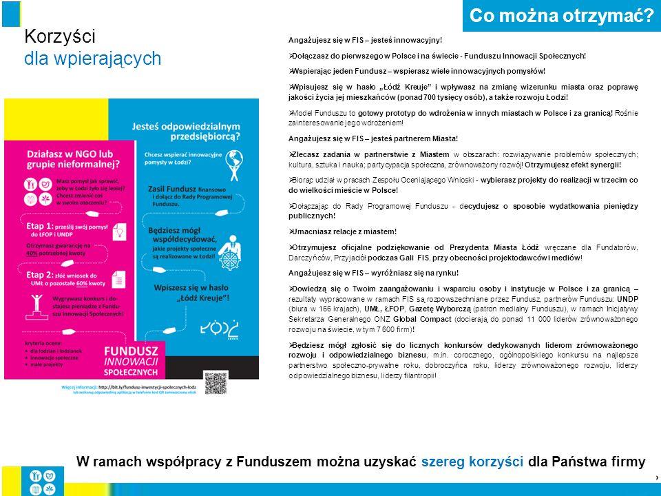Angażujesz się w FIS – jesteś innowacyjny!  Dołączasz do pierwszego w Polsce i na świecie - Funduszu Innowacji Społecznych!  Wspierając jeden Fundus