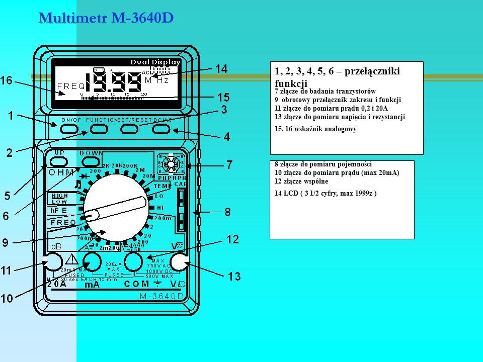 Multimetr M-3640D 1, 2, 3, 4, 5, 6 – przełączniki funkcji 7 złącze do badania tranzystorów 9 obrotowy przełącznik zakresu i funkcji 11 złącze do pomiaru prądu 0,2 i 20A 13 złącze do pomiaru napięcia i rezystancji 15, 16 wskaźnik analogowy 8 złącze do pomiaru pojemności 10 złącze do pomiaru prądu (max 20mA) 12 złącze wspólne 14 LCD ( 3 1/2 cyfry, max 1999z )