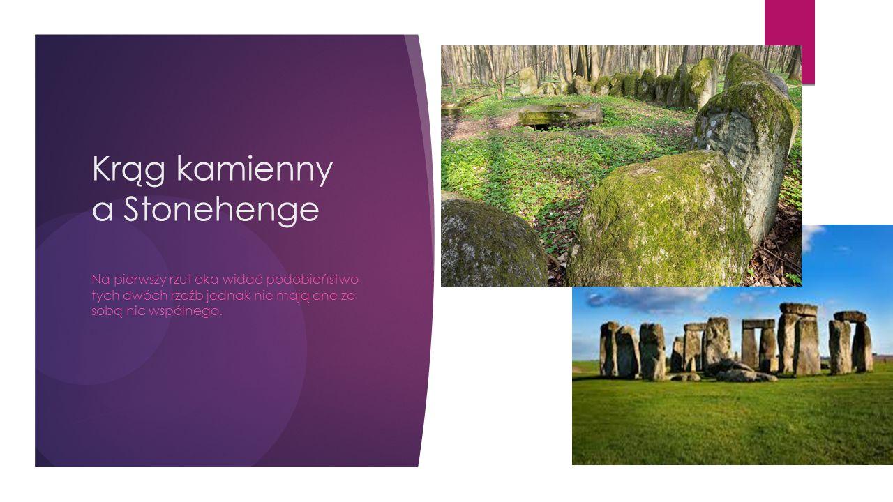 Krąg kamienny a Stonehenge Na pierwszy rzut oka widać podobieństwo tych dwóch rzeźb jednak nie mają one ze sobą nic wspólnego.