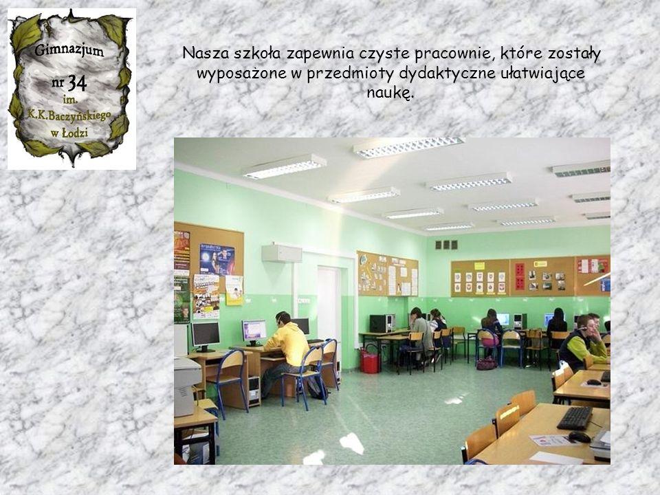 Nasza szkoła zapewnia czyste pracownie, które zostały wyposażone w przedmioty dydaktyczne ułatwiające naukę.