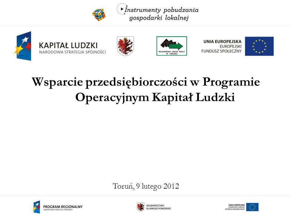 Priorytet VI PO KL Rynek pracy otwarty dla wszystkich 2007-2011 1) Projekty systemowe powiatowych urzędów pracy (Poddziałanie 6.1.3 PO KL)  jednorazowe środki na rozpoczęcie działalności gospodarczej (do wys.