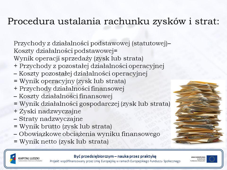 Procedura ustalania rachunku zysków i strat: Przychody z działalności podstawowej (statutowej)– Koszty działalności podstawowej= Wynik operacji sprzed