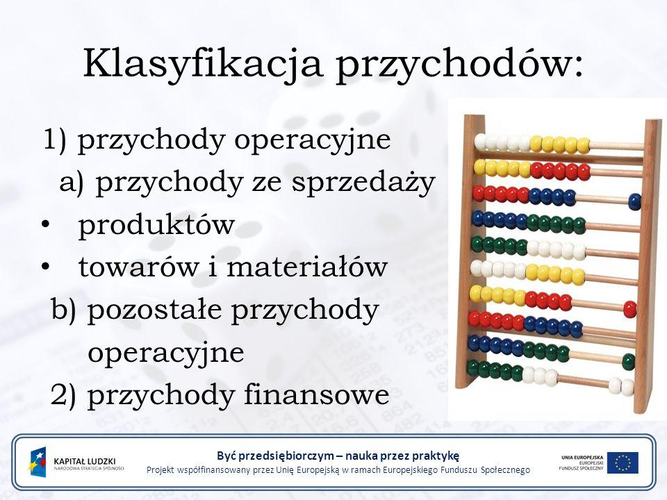 1) przychody operacyjne a) przychody ze sprzedaży produktów towarów i materiałów b) pozostałe przychody operacyjne 2) przychody finansowe Być przedsię