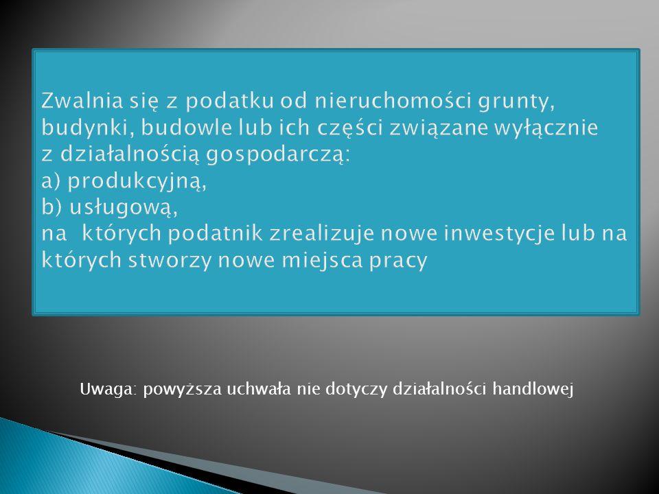 Uchwała Nr V/52/07 Rady Miasta Piotrkowa Trybunalskiego z dnia 24 stycznia 2007r. w sprawie zwolnień w podatku od nieruchomości (dostępna w BIP UMPT).