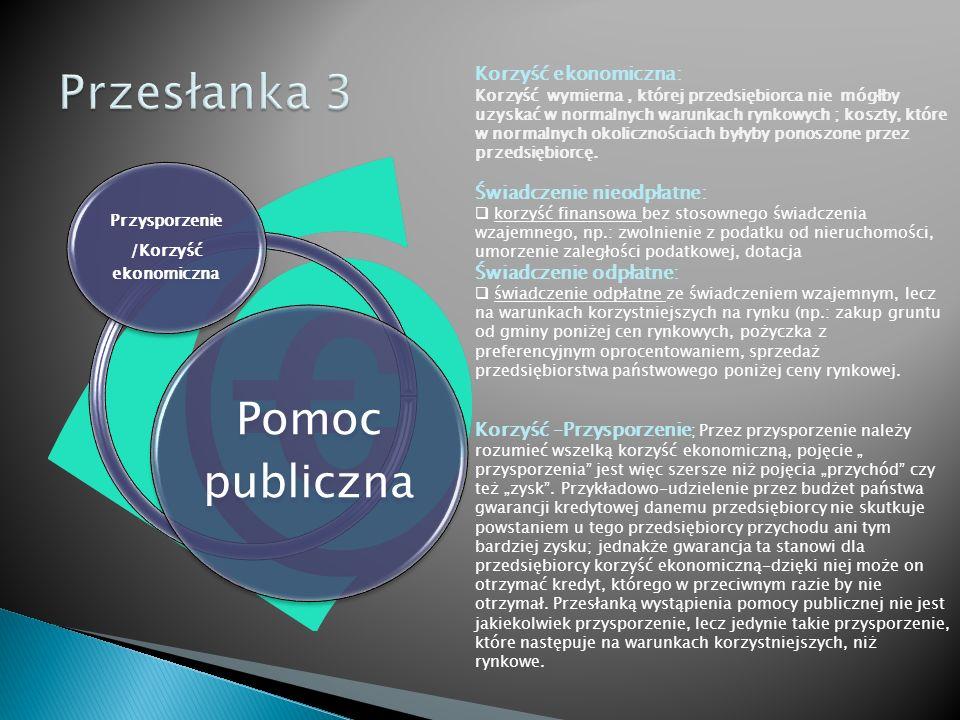 """Pomoc publiczna Zasoby/Środki publiczne Zasoby publiczne to:  zasoby/środki finansowe,  zasoby majątkowe/rzeczowe Przepisy dotyczące zasad udzielania pomocy publicznej dotyczą tylko tych działań, które wiążą się z użyciem środków publicznych (władze centralne, samorządowe, banki, fundacje, itd.); """"Pomoc przyznawana przez Państwo Członkowskie lub przy użyciu zasobów państwowych Środki finansowe - stanowiące pomoc publiczną mogą przybierać różne formy np.:  dotacja,  zwolnienie z podatku,  zwolnienie z opłaty,  umorzenie kar,  poręczenie,  udzielenie ze środków publicznych pożyczki lub innej formy finansowania zwrotnego,  gwarancja,  dostarczenie towarów i usług na preferencyjnych warunkach,  oddanie do korzystania mienia będącego własnością jednostek samorządu terytorialnego na warunkach korzystniejszych od oferowanych na rynku itd., Zasobami publicznymi są nie tylko środki finansowe ujęte w budżecie, ale również zasoby majątkowe."""