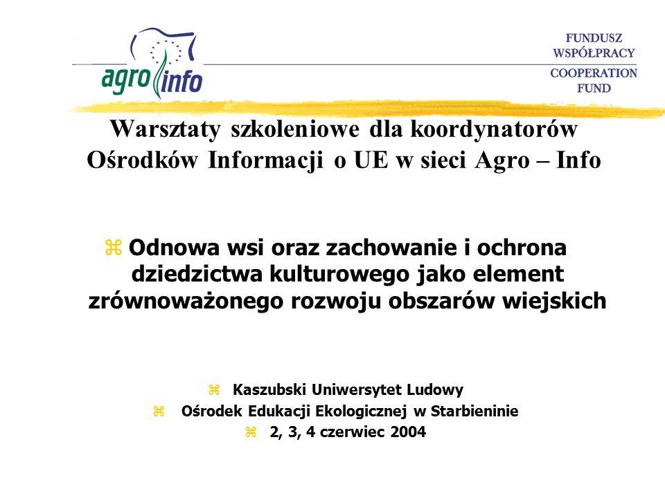 Warsztaty szkoleniowe dla koordynatorów Ośrodków Informacji o UE w sieci Agro – Info zOdnowa wsi oraz zachowanie i ochrona dziedzictwa kulturowego jako element zrównoważonego rozwoju obszarów wiejskich zKaszubski Uniwersytet Ludowy z Ośrodek Edukacji Ekologicznej w Starbieninie z2, 3, 4 czerwiec 2004